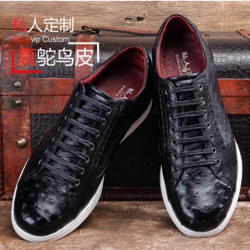 Ourui New  Selling  True  Ostrich Leather  Sandals  Male  Portable  Leisure Men Shoes Ostrich Skin Men Male