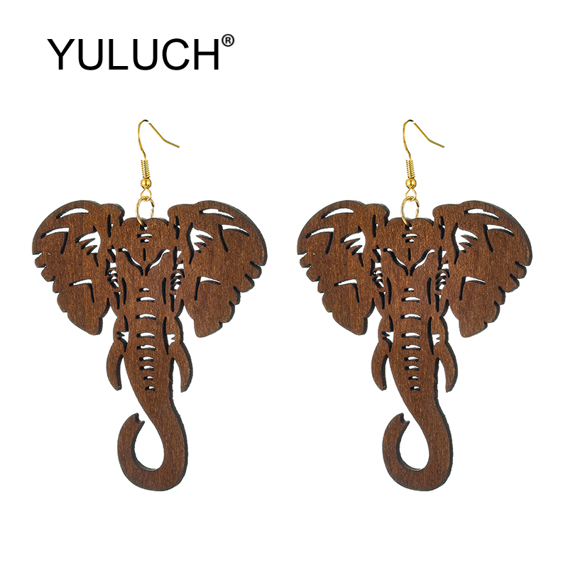 YULUCH 2019 Ethnic Big Long Earrings Fashion Jewelry African Indian Women Hollow Wood Animal Elephant Big Dangle Earrings Femme
