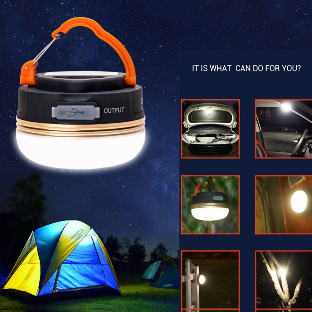 2019 7*8cm Portable Outdoor Rechargeable USB Emergency Lights Super Bright 3 Level Brightness Lamp IP43 For Camping With Magnet