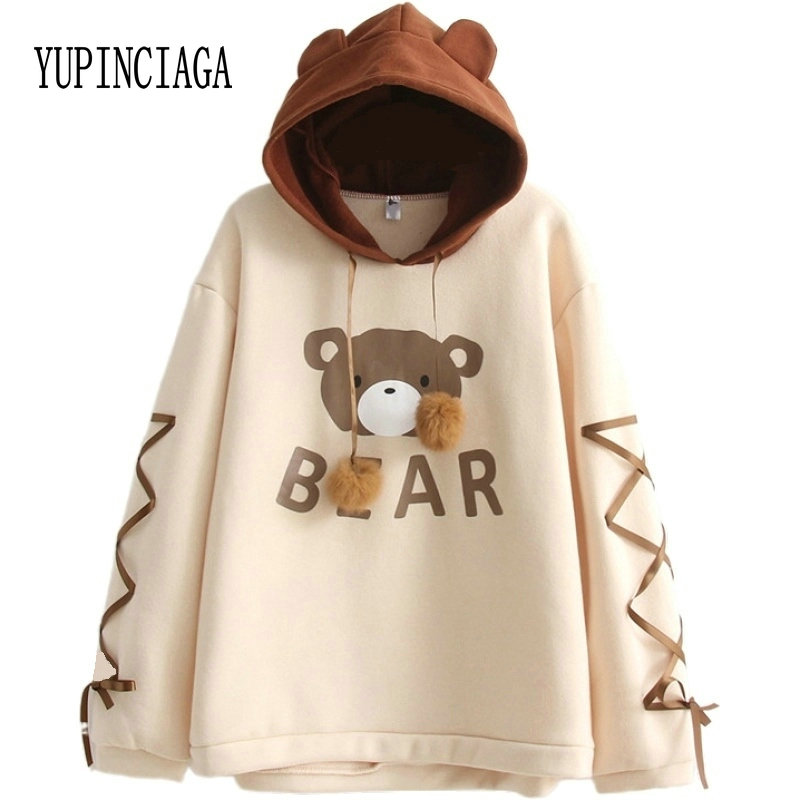 Women's Hooded Sweatshirt Cartoon Bear Print Harajuku Cute Hoodies 2020 Spring Long Sleeve Patchwork Pullovers With Lace Up
