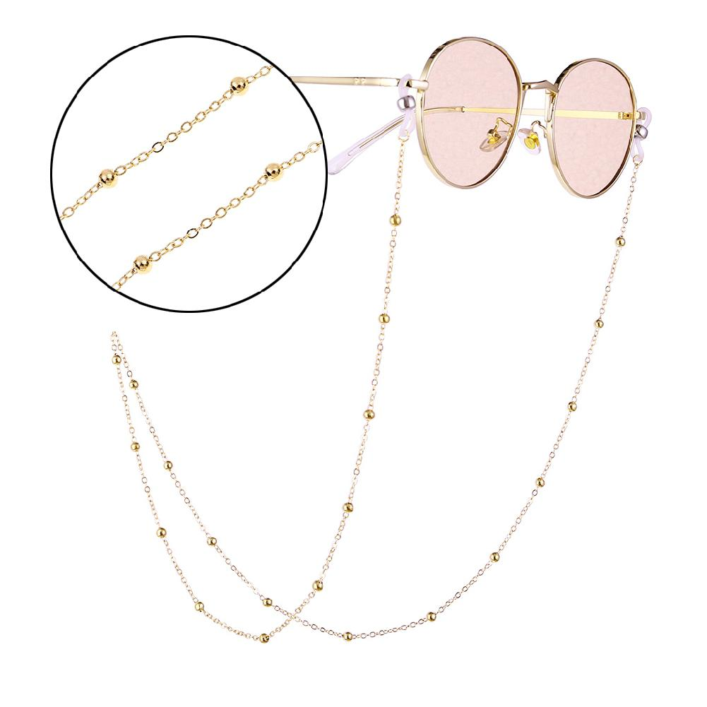 Fashion Women Gold Silver Eyeglass Chains Sunglasses Reading Beaded Glasses Chain Eyewears Cord Holder