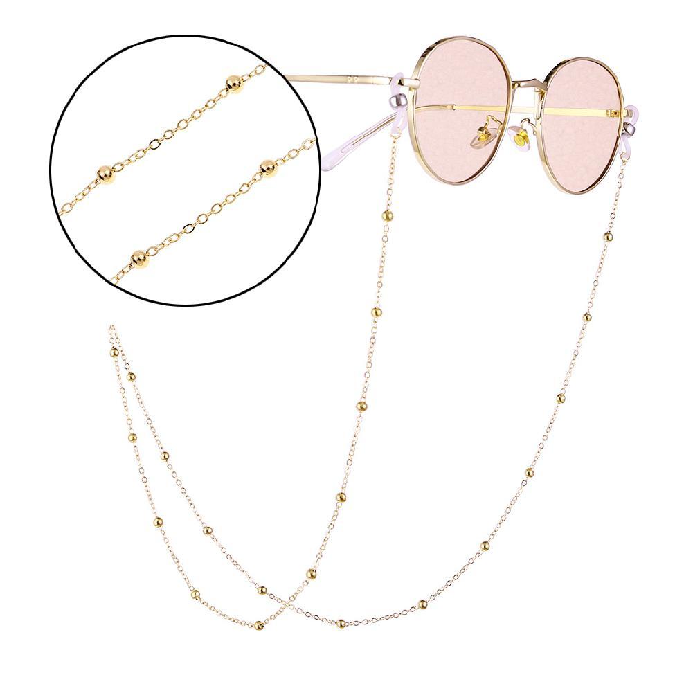 Fashion Women Gold Silver Eyeglass Chains Sunglasses Reading Beaded Glasses Chain Eyewears Cord Holder