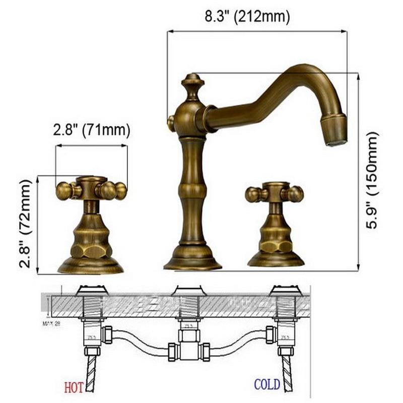 Antique Brass Dual Cross Handles Widespread 3 Hole Install Bathroom Sink Basin Faucet Mixer Taps aan030
