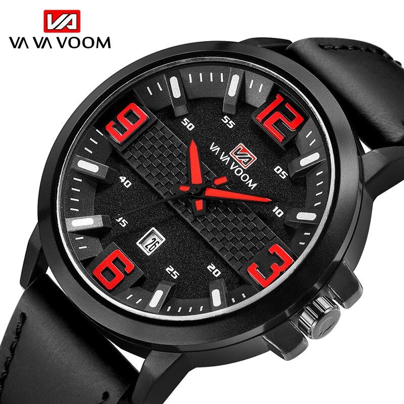 VA VA VOOM NEW Luxury Brand Watch Men Date Sport Quartz Watches Male Big Dial Wristwatch Leather Strap Men's Watch montre homme