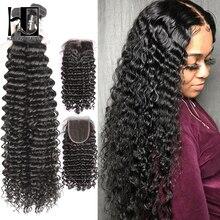 36 40 Cal kręcone wiązki z zamknięciem głęboka fala brazylijski włosy wyplata wiązki z zamknięciem podwójne rysowane Remy ludzki włos
