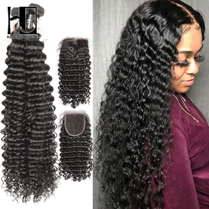 36 40 Inch Curly Bundles With Closure Deep Wave Brazilian Hair Weave Bundles With Closure Double Drawn Remy Human Hair(China)