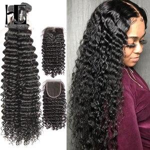 Image 1 - 36 40 inç kıvırcık demetleri ile kapatma derin gölgeli brezilyalı saçı örgü demetleri ile kapatma çift çekilmiş Remy insan saçı