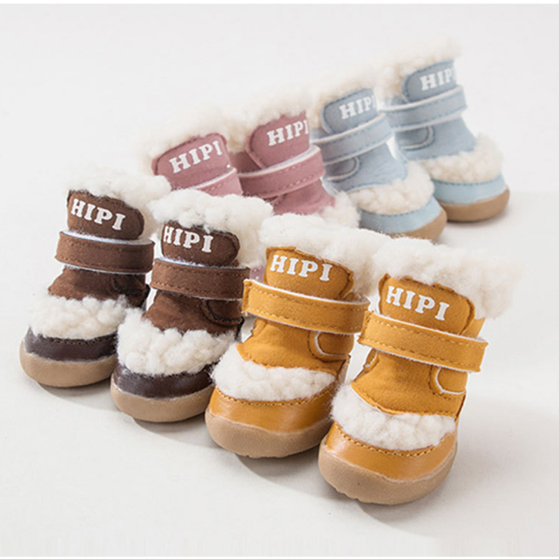 4pcs/set Winter Warm Anti-slip Pet <font><b>Shoes</b></font> Deerskin for Small Dogs Cats Chihuahua Yorkie Thick Dog Boots Socks image