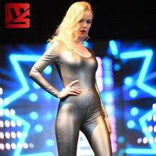 S-XXL Plus Low Cut Sexy PU Leather Bodycon Jumpsuit High Elastic Long Sleeve Zipper Open Crotch Bodysuit Women Body Shaping Suit