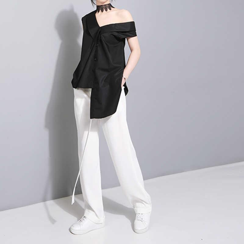 TWOTWINSTYLE שרוולים Sashes טוניקת נשים של חולצות חולצות קיץ 2020 V צווארון שחור חאקי סדיר Loose חולצה חולצות מזדמנים