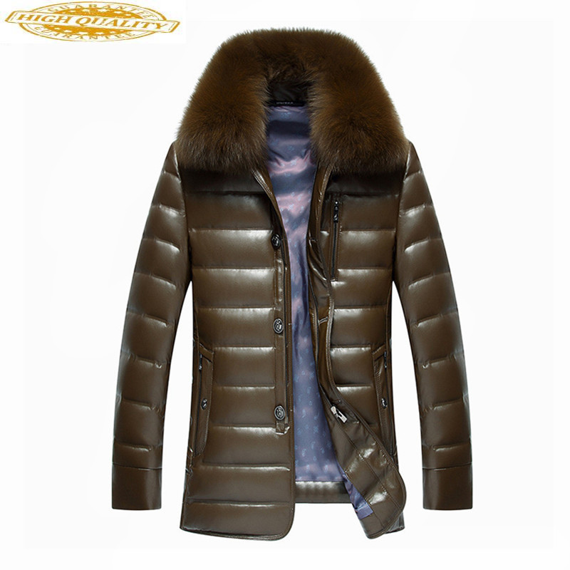Real Fox Fur Collar White Duck Down Jacket Men Winter Coat Thick Parkas Warm Mens Leather Jackets Chaqueta Hombre WXF450