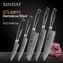 XINZUO 1pcs/5pcs Kitchen Knives Set 67Layer VG10 Japan Damascus Steel Chef Cleaver Santoku Utility Paring Knife Pakkawood Handle