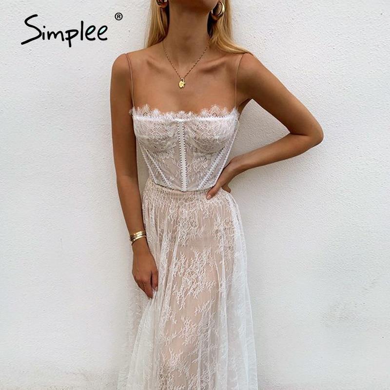 Simplee Sexy White Lace Summer Women Maxi Dresses Beach Spaghetti Strap Backless Plus Size Dress Mesh Femme Long Dress Vestidos