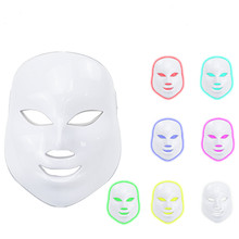 LED  Electric Facial Mask 7 Colors with Neck Skin care Rejuvenation AntiWrinkle Acne Photon Therapy Salon tools facial machine