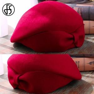 Image 5 - FS レディースレッドウェディング帽子女性のためのヴィンテージ 100% ウールはピルボックス帽子黒の魅惑的な冬 Fedoras 弓ベレー帽教会帽子