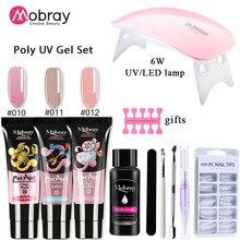Mobray Gel per unghie Poly UV Gel Kit per unghie Gel per estensione Set lampada spazzola per unghie Nail Art Design tutto per unghie Set Manicure