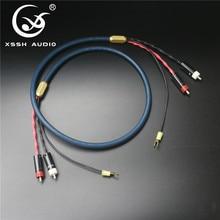Xssh 4 núcleo cobre puro ofc chapeado prata escudo 2 rca a 2 rca terra u plugue de pá áudio phono tonearm cabo com fio à terra