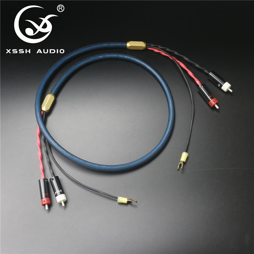 XSSH 4 noyaux pur cuivre OFC plaqué argent bouclier 2 RCA à 2 RCA terre U bêche prise Audio Phono Tonearm câble avec fil de terre