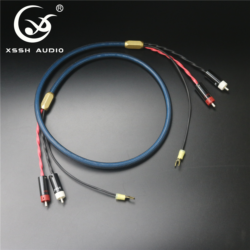 XSSH <font><b>4</b></font> core pure copper OFC Plated Silver shield 2 <font><b>RCA</b></font> to 2 <font><b>RCA</b></font> ground U spade plug Audio Phono Tonearm <font><b>Cable</b></font> with Ground Wire image