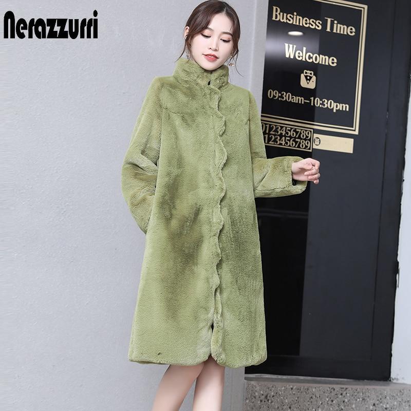 Nerazzurri Winter Colored Faux Fur Coat Women Scallop Trim Army Green Black Fluffy Jacket Warm Plus Size Furry Fake Fur Jacket