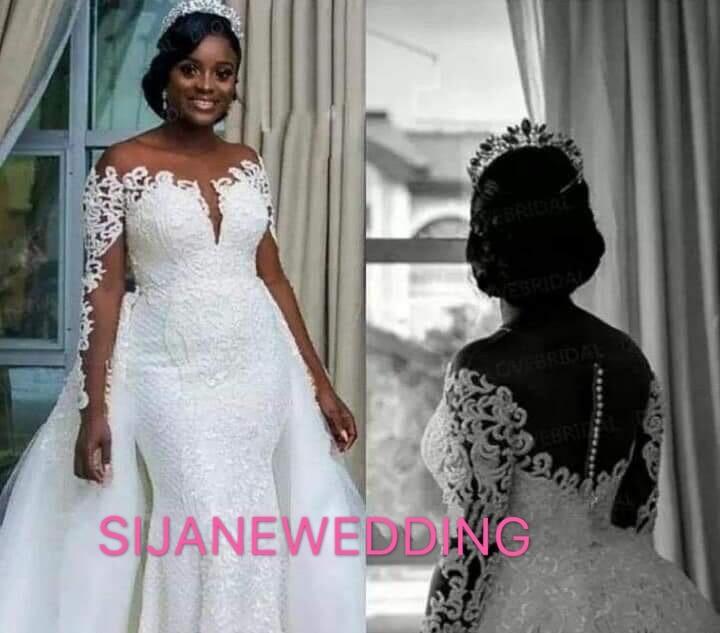 Wedding Dress Vestidos De Noiva Deep V Neck dress Long sleeve Wedding Party dress 20190611