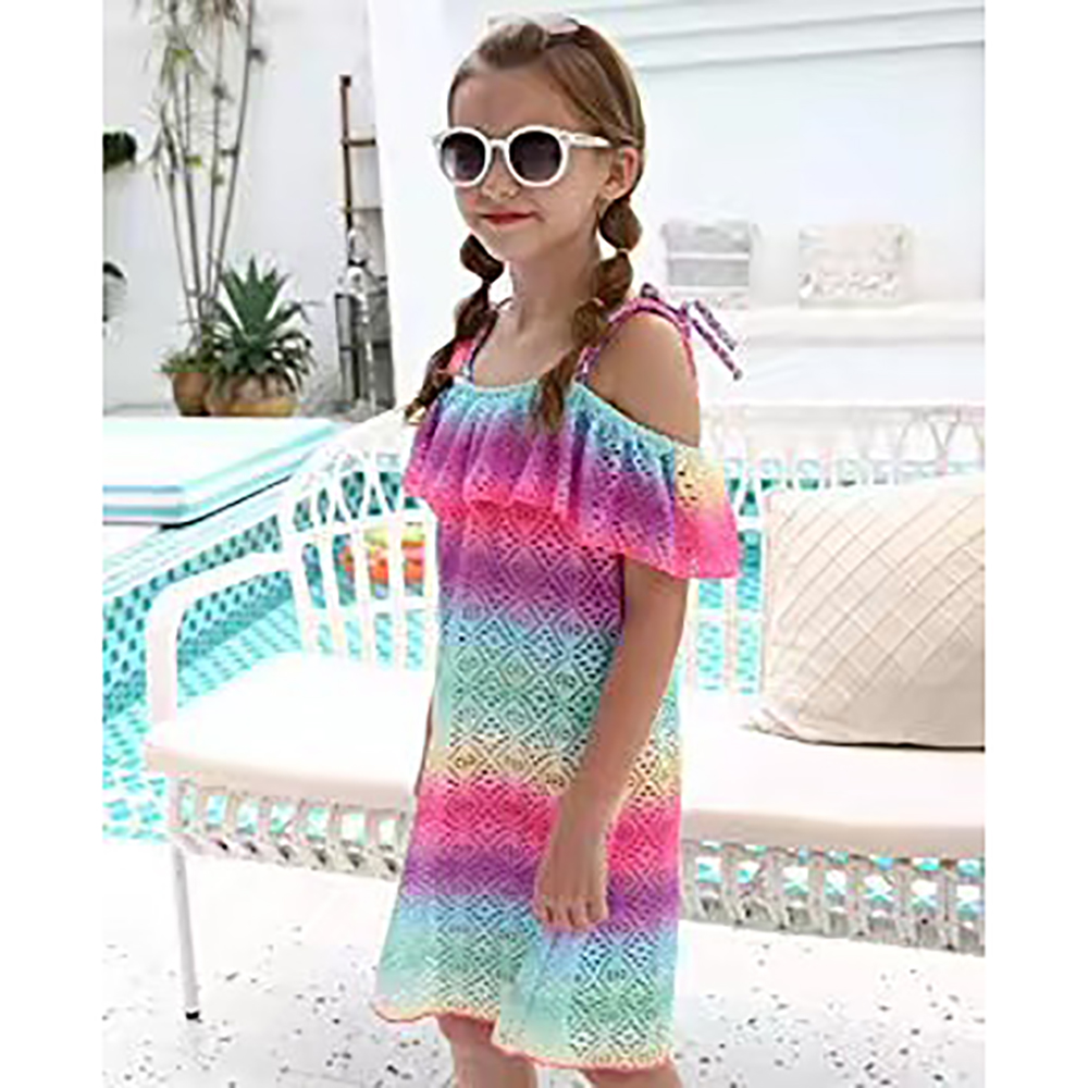 Big Girls Crochet Cover Up Dress, Ruffle Design Beachwear Swimsuits Girls One Piece Crochet Swim Cover Up Dresses Size 7-16