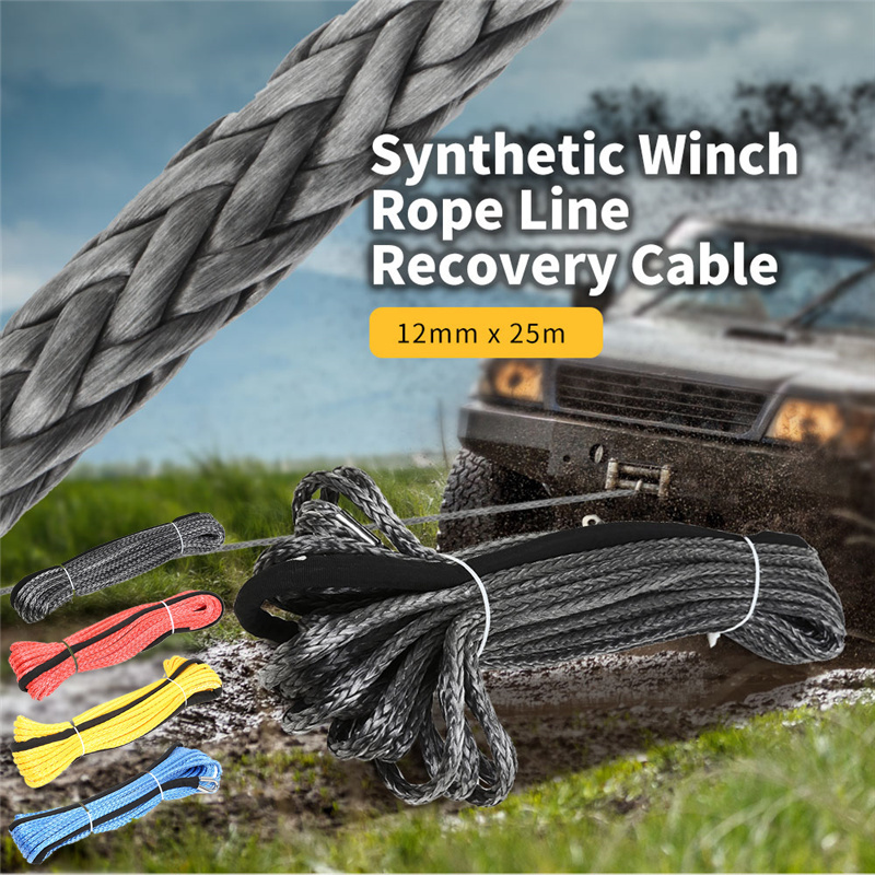 12mm X 25m Synthetic Winch Rope Line Recovery Cable Suitable 12000 - 15000 Pound Capstan For ATV UTV Off-Road Heavy Duty