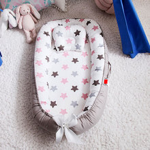 88*53cm Portable Baby Nest Bed With Pillow Foldable Crib Travel Bed Infant Toddler Cotton Cradle for Newborn Bassinet Bumper Pad