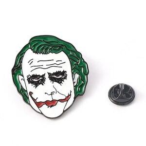 JOKER Gesicht Brosche Film Stephen König der Es Clown Emaille Pin Broschen Cartoon Metall Brosche Pins Denim Hut Abzeichen Kragen schmuck