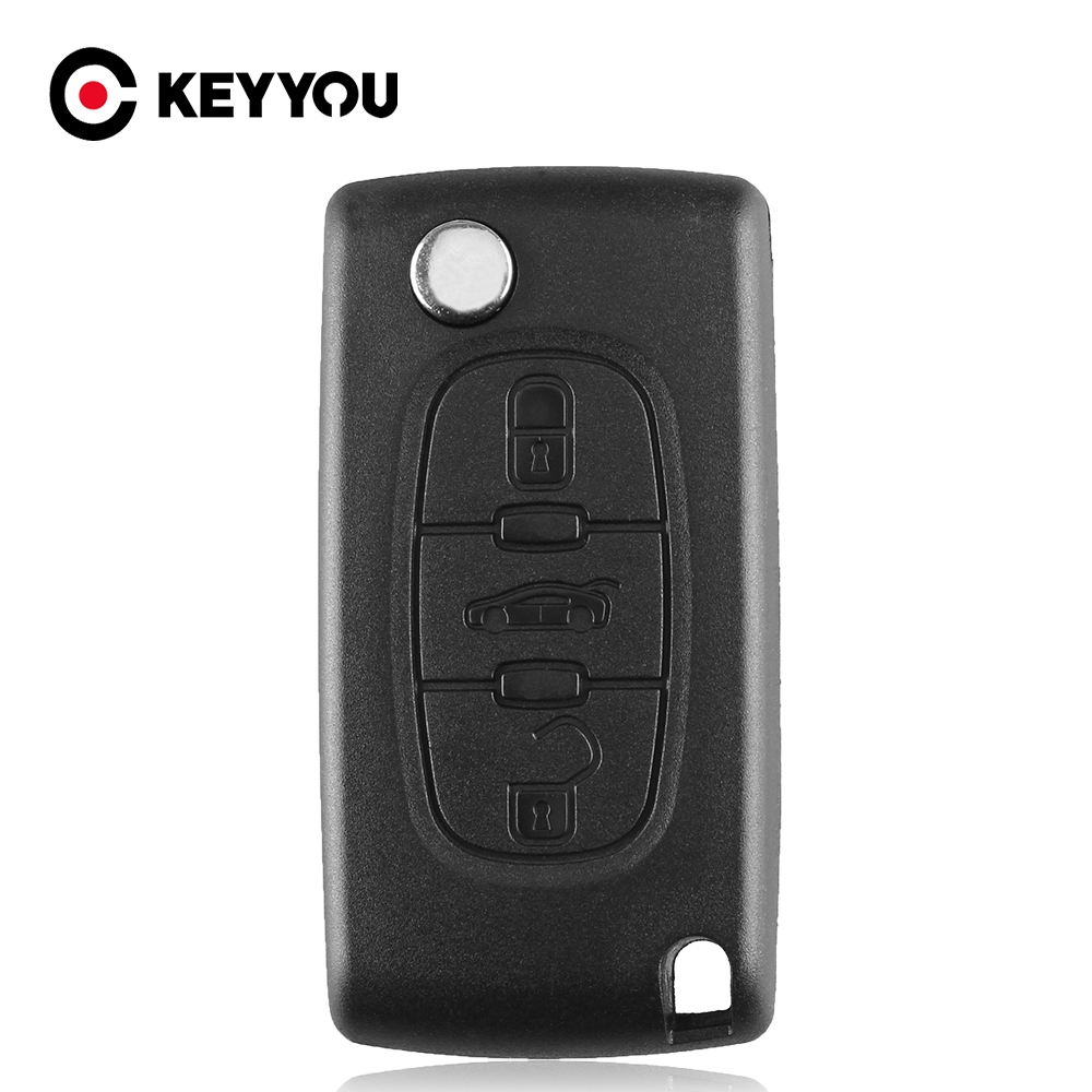 KEYYOU Car <font><b>Remote</b></font> Flip <font><b>Key</b></font> For <font><b>PEUGEOT</b></font> 207 <font><b>208</b></font> 307 308 408 Partner Keyless Entry HU83 Blade CE0536 433MHz Circuit Board image