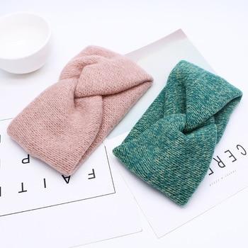 Women Solid Knitting Cross Knot Woolen Warm Headbands Hair Holder Elastic Hairbands Turban Headwraps Fashion Hair Accessories 2