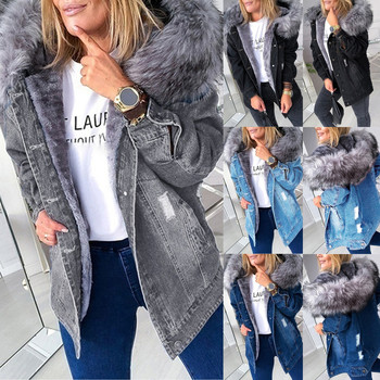 Women's Add A Long - Sleeved Denim Woman Parkas Solid Color Coat With A Fur-trimmed Collar Woman Jacket Cotton Coats Windbreaker 1