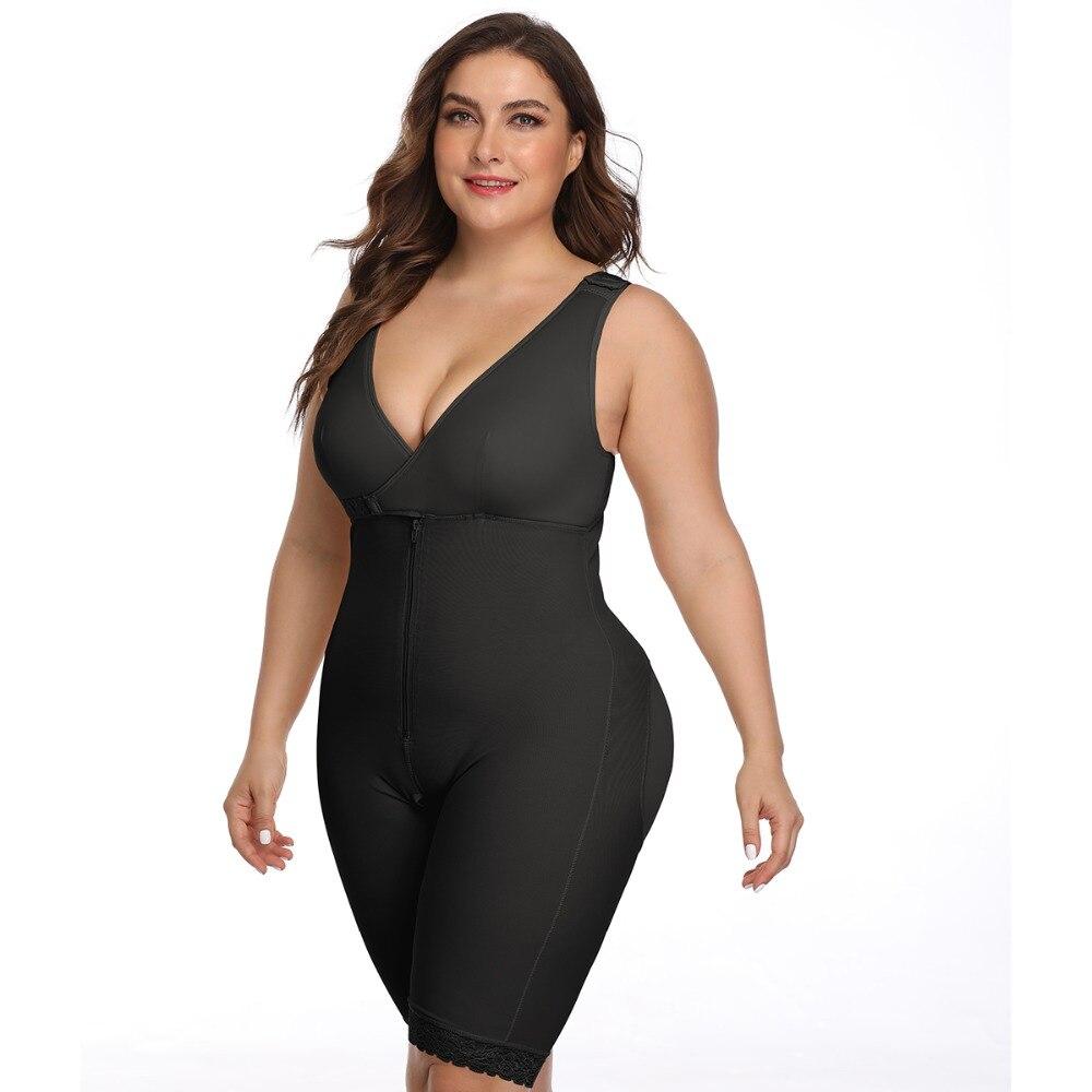 Women's Open Crotch Body Shaper Tummy Control Underwear Black Beige Plus Size 6XL Bodysuit Deep V Overbust Adjustable Shapewear (23)