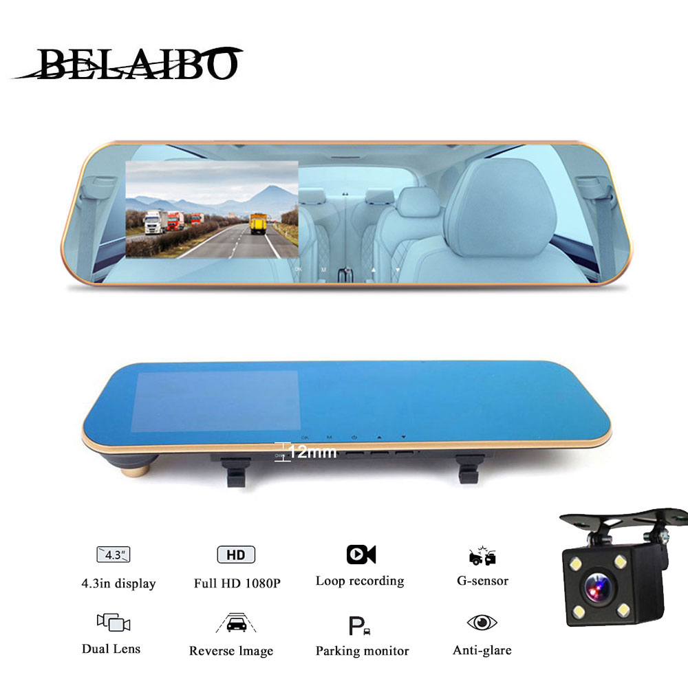 Автомобильный видеорегистратор, зеркальный видеорегистратор 4,3 дюйма HD 1080P, камера с датчиком движения, широкоугольным углом 170 градусов, 24 ...