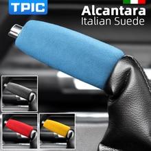 TPIC אלקנטרה רכב בלם יד כיסוי שרוול מדבקה למוסטנג 2015 2020 לקצץ פנים אנטי להחליק אביזרי יד בלם מקרה