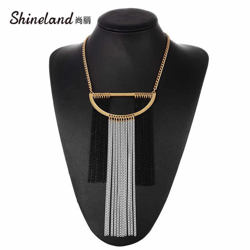 Shineland Bohemian Wanita Berlebihan Besar Kalung Chunky Perhiasan Panjang Rantai Rumbai Kepribadian Laporan Gaya Kalung Collares