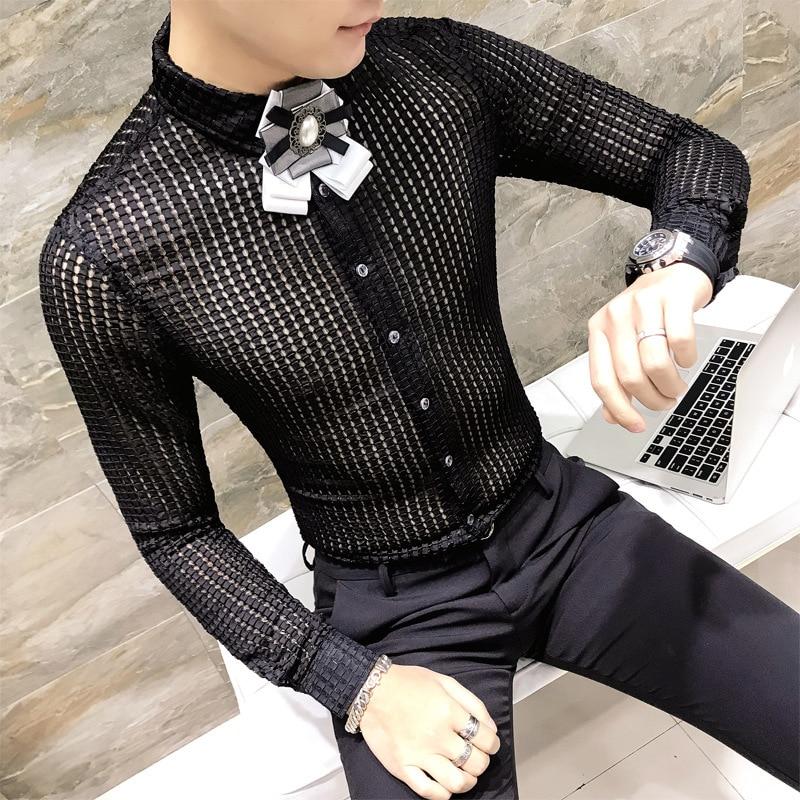 Dress Shirt Men See Through Shirt Fashion Designer Casual Shirt Slim Fit Long Sleeve Club Prom Party  Camisa Social Masculina