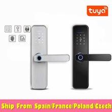 Serrure de porte intelligente Tuya argentée à empreintes digitales, verrou de sécurité électronique étanche WiFi avec carte RFID et mot de passe