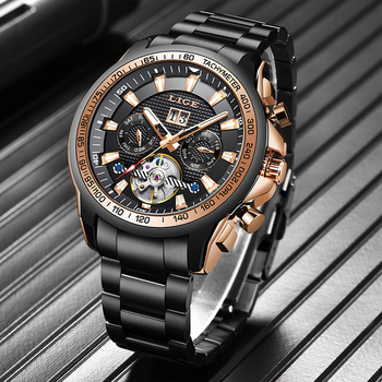 цена LIGE Fashion Military Mens Watches Top Brand Luxury Automatic Mechanical Clocks Sports Watch For Man Tourbillon Wrist Watch Army онлайн в 2017 году