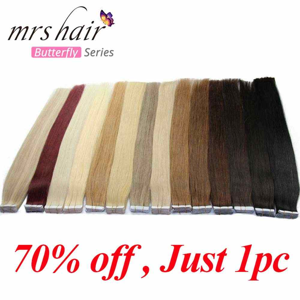 Mrshair Klaring 10 Pcs Tape In Human Hair Extensions Machine Remy Steil Haar Onzichtbare Tape Pu Huid Inslag