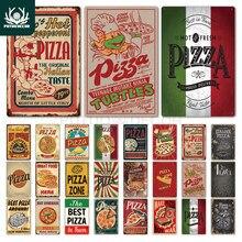 Pizza sinal de metal vintage estanho placa retro decoração da parede do vintage para cafe bistro restaurante pizza zona