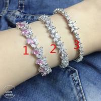 Hot S925 silver pink zircon horse eyes stone bracelet for girls flower design letter T bracelet for women wedding party jewelry