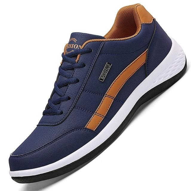 Leather Men Shoes Sneakers Trend Casual Shoe Italian Breathable Leisure Male Sneakers Non-slip Footwear Men Vulcanized Shoes 1