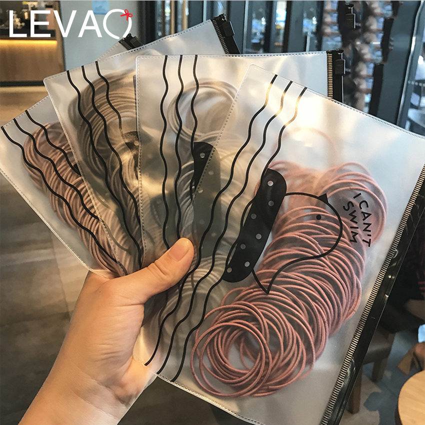 Levao 100PCS/Lot High Elastic Hair Rope Scrunchies Ponytail Holder Women Seamless Rubber Band Stretch Hair Bands Headdress