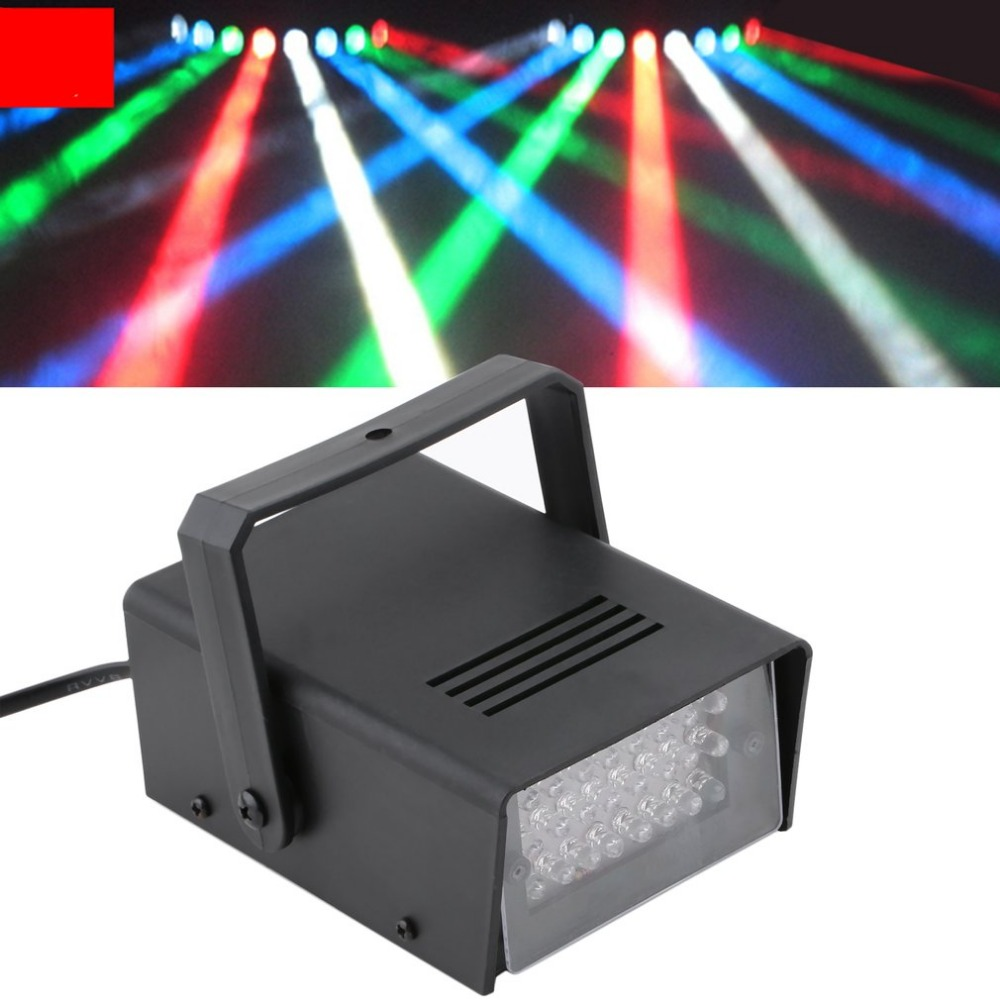Black Mini 24pcs LEDs Strobe Disco DJ Flash Lamp Stage Light Club Stage Lighting Effect Bulb Party Bar Decoration
