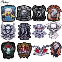 Pulaqi Embroidered Eagle Wing Rock Motorcycle 66 American HIGHWAY Large Back Iron On Patch Clothing Jacket Biker Punk Patch H diy punk rock bike patch large embroidery biker patch motorcycle iron on patches for clothes jeans vest jacket back patch h