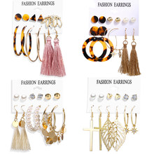 Vintage Long Tassel Earrings For Women 2019 Fashion Cross Leaf Gold Pearl Leopard Acrylic Stud Earring Set Oversize Jewelry(China)