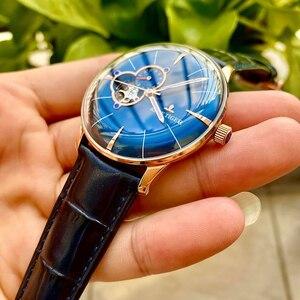Мужские наручные часы Reef Tiger/ET, синие кожаные часы с выпуклыми стеклами, автоматические механические водонепроницаемые часы RGA8239