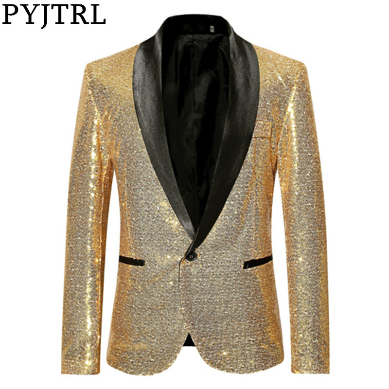 PYJTRL Shiny Gold Sequin Bling Glitter Suits Jacket Blazer Men Shawl Collar Club DJ Mens Blazer Jacket Stage Clothers