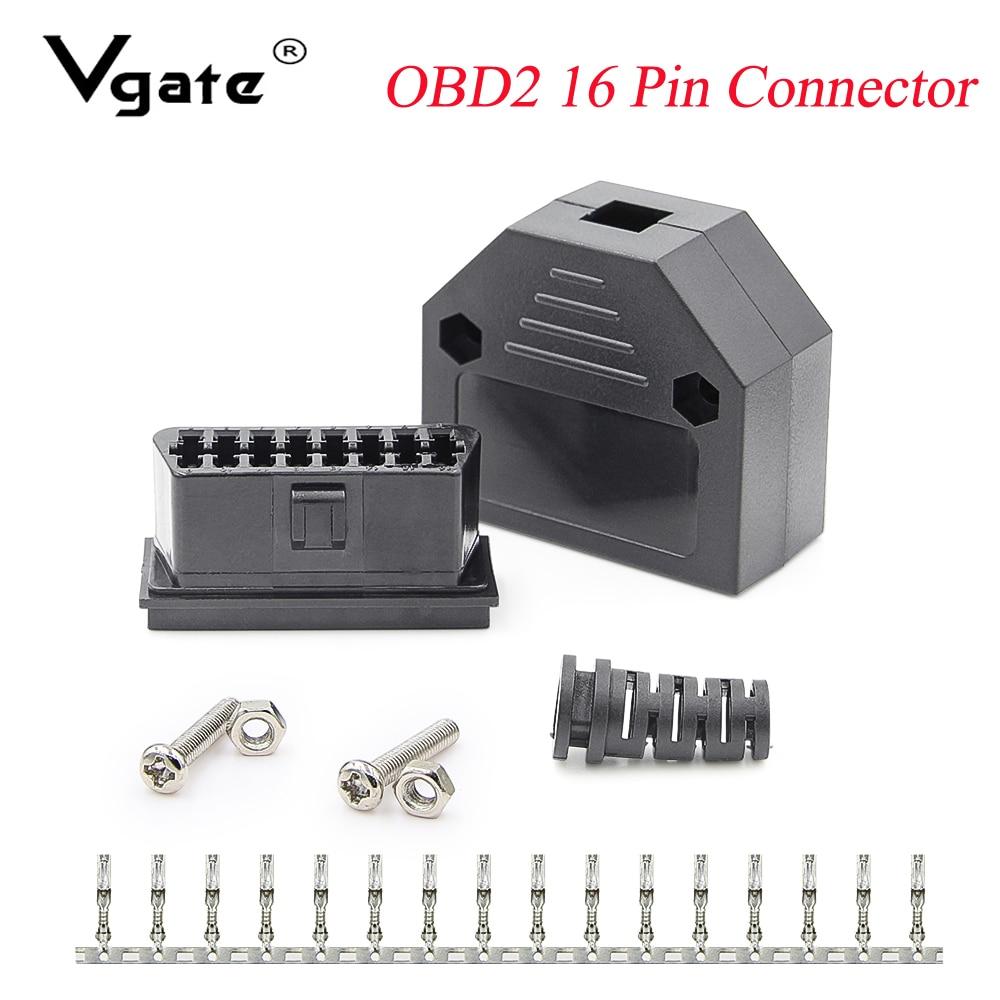 OBD2 16Pin Male Connector For OBD 2 ELM327 V1.5 V2.1 Female Adaptor J1962F For Car Diagnostic Cable Tool Obd2 Scanner Reader
